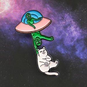 Funny Space Cat Alien Enamel Pin Astronomy UFO